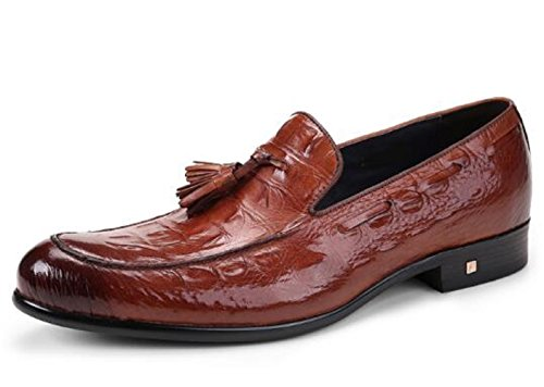 Happyshop (tm) Britse Stijl Heren Croco Lederen Kwastje Oxfords Derbies Slip-on Dress-schoenen Bruin