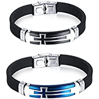 JINGCI Cross Bracelets for men, Stainless Steel Religious Bracelet with Silicone and Leather for Couples Boys and Man