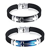 JINGCI Stainless Steel Bracelet for boys and men (2 PCS)
