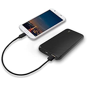 Ultra-Compact Portable Power Bank, LAX 4000mAh External Battery Pack Charger USB Output for iPhone, Samsung Galaxy and More (Black)
