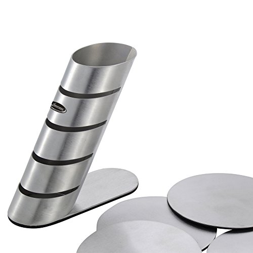 Large Product Image of Cup Coasters, Newness Cup Coasters Set with Decorative Rack, Stainless Steel Tabletop Display Round Cup Coaster with Holder, Silver, Set of 4