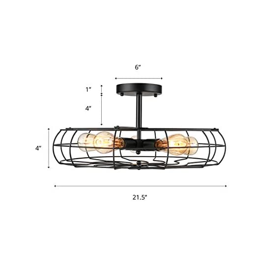 Semi Flush Mount Ceiling Light - BAYCHEER Vintage Pendant lights Industrial Chandelier Black Metal Cage Hanging Fixture… - NOTE: The goods will be delivered from amazon warehouse within 2-3 days!!! This Semi Flush Mount Ceiling Lights Can be used in Indoor Lighting, Hallway, Restaurant, Warehouse, Barn, Living Room and so on, if you want to install on a slop ceiling, it can be uesd a converter to achieve. Cage Height: 4.33 inch (11cm), Cage Width: 21.65 inch (55 cm), Ceiling Plate Width: 5.91 inch (15 cm). If you need the other size plate (10 cm/3.94 inch or 12 cm/4.72 inch), please contact us. Rod Length: 4.13 inch (10.5 cm), Ceiling Plate height: 0.98 inch (2.5 cm). Pipe diameter: 1.57 inch (4 cm). Packet Size: 22.4 x 22.4 x 5.12 inches (57 x 57 x 13 cm). Bulb types available include: Edison Bulb, LED, CFL or Incandescent. Bulb Base is E26 or E27(We can product 110v or 220v.). Recommended maximum per bulb power: 60w. - kitchen-dining-room-decor, kitchen-dining-room, chandeliers-lighting - 41JWKjHrRoL. SS570  -