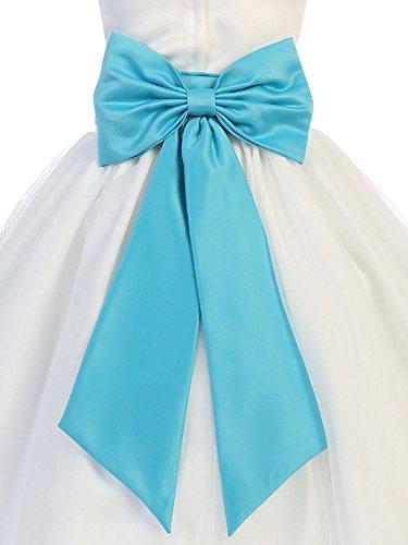 Hot Dresses Flower Girl Sash Belt with Big Bow (S, (Turquoise Sash)