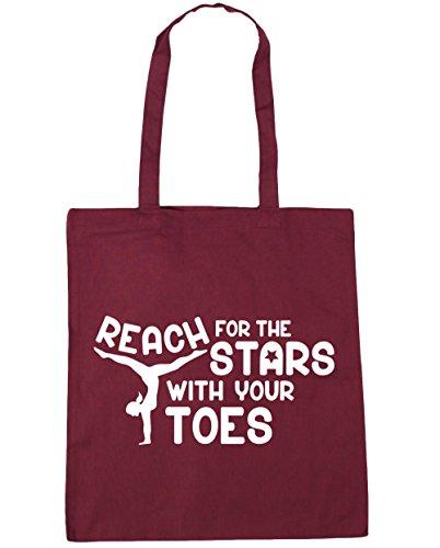 HippoWarehouse Alcance para las estrellas con los dedos gimnasia gimnasio playa bolsa de la compra bolsa 42cm x38cm, 10litros, rojo clásico (rojo) - 21429-TOTE-Classic Red granate