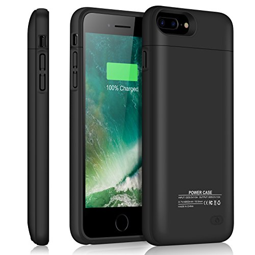iPhone 8 Plus / 7 Plus Battery Case YISHDA Slim 4200mAh Rechargeable Extended Battery Charging Case for Apple iPhone 8 Plus iPhone 7 Plus [5.5-Inch] Juice Pack Protective Power Case Cover -Top Piece Detachable Could as Magnetic Stand