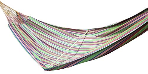 "Double (63"") Ethical, True Colombian Hammock. Green - ETHICAL, STRONG, COMFORTABLE, TRUE COLOMBIAN HAMMOCK Sizes: 63"" X 102"", Length overal: 165"", Hold: 440lbs 100% soft colourfast cotton, MORE suspension strings, exceptionally tear-proof edges - patio-furniture, patio, hammocks - 41JWLvRyxNL -"