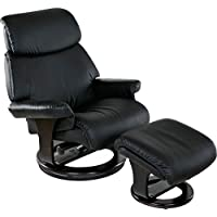 Relaxzen Classic, Bonded Leather Recliner with Ottoman, Black