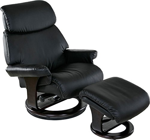 Relaxzen Classic, Bonded Leather Recliner with Ottoman, Blac