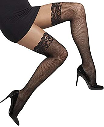ec49c8a71 Ladies Sexy Black White or Red Lace Top Fishnet Thigh High Fancy Dress Hold  Ups Stockings Hold Ups (Black)  Amazon.co.uk  Clothing