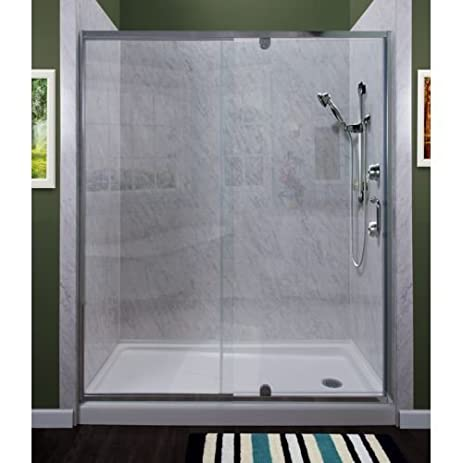Miseno MSDC4269 Purify 69u0026quot; High X 42u0026quot; Wide Semi Framed Pivot  Shower Door