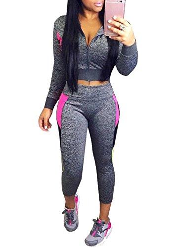 Block Track Jacket (FOUNDO Women's Tracksuit Jacket Pants Color Block 2 Piece Sports Joggers Jog Set Gray L)