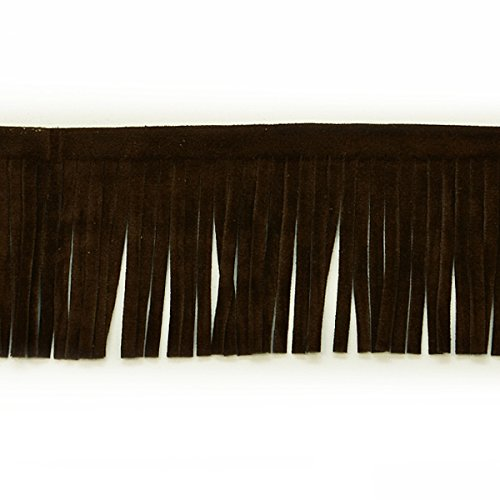 Suede Embellishments - Expo International 2-Inch Faux Suede Fringe Trim Embellishment, 10-Yard, Brown