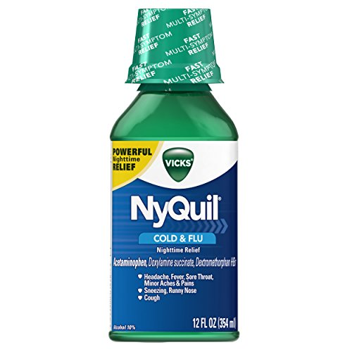 Vicks NyQuil Cough Cold and Flu Nighttime Relief Original Flavor Liquid, 12 Oz
