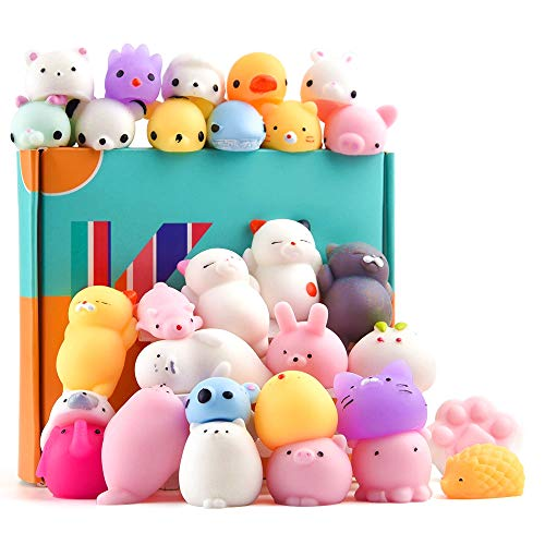 (KUUQA 30Pcs Animal Squishies Toys Easter Egg Fillers Kawaii Squishy Panda Cat Paw Cute Mini Soft Squeeze Stress Reliever Balls Toys for Kids Adult Birthday Party Favors)