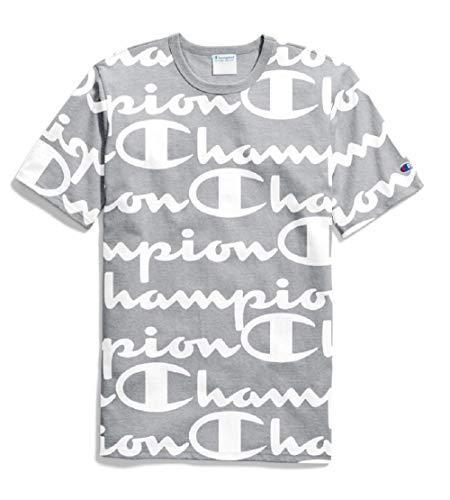 (Champion LIFE Men's Heritage Tee, Giant CHP Script Oxford Grey, XX-Large)