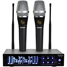 GEARDON Rechargeable Dual Wireless Microphone System, 200 Channel UHF Wireless Mic Set with 250ft Long Range Professional Performance, 15hours Battery Continuous Use for Presentation/Church/Karaoke