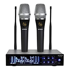 GEARDON Rechargeable Dual Wireless Microphone System, 200 Channel UHF Cordless Mic Set Long Distance 250Ft Mute Function…