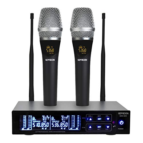 - GEARDON Rechargeable Dual Wireless Microphone System, 200 Channel UHF  Cordless Mic Set  Long Distance 250Ft Mute Function for Church,Karaoke,Party,DJ