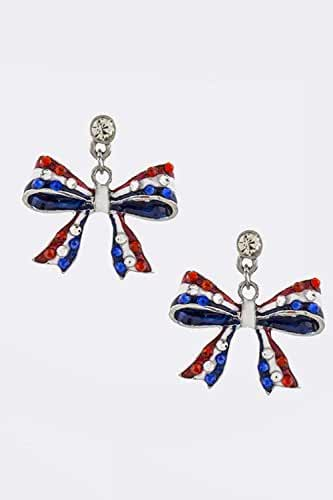 TRENDY FASHION JEWELRY PATRIOTIC BOW EARRINGS BY FASHION DESTINATION