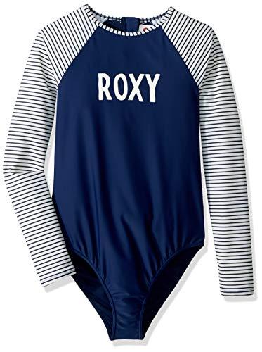 (Roxy Girls' Big Downtown Lights Long Sleeve Onesie Swimsuit, Medieval Blue, 12/L )