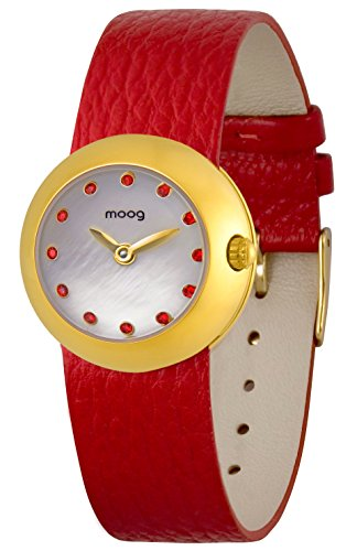 Moog Paris Zoom Women's Watch with White Dial, Interchangable Red Strap in Genuine Leather - M45382-005