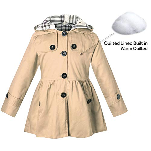 Little Girl's Long Sleeves Chino Cotton Winter Quilted Hooded Trench Coat Outerwear, B-Khaki, Age 4T-5T (4-5 Years) = Tag 120 ()