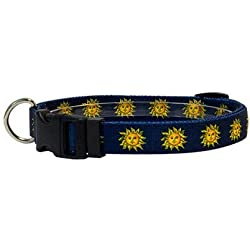 "Yellow Dog Design Suns Dog Collar with Tag-A-Long ID Tag System-Size Large-1"" Wide and fits Neck 18 to 28"""