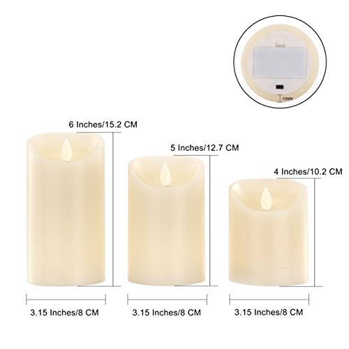 OShine Flameless Candles,LED Candles Set of 4 5'' 6'' H(3.15'' D) Flickering flame with Remote and Timer Real Wax Pillar | Bathroom, Kitchen, Home Decoration | 10-Key Control | Reusable, 31, Ivory (31) by OShine (Image #3)