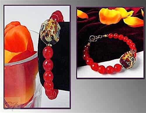 Ruby jade and designer lampwork Bracelet one strands Orange-Red Stone