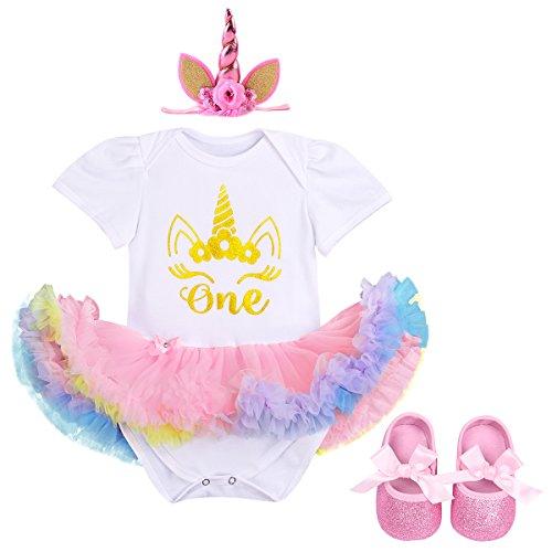 IBTOM CASTLE Little Girl Newborn It's My 1st Birthday Cake Smash Outfits Romper+Shoes+Headband Tutu Baby Princess Dress Set 3pcs White+Pink Unicorn 12-18 Months (Princess Tutu Set)
