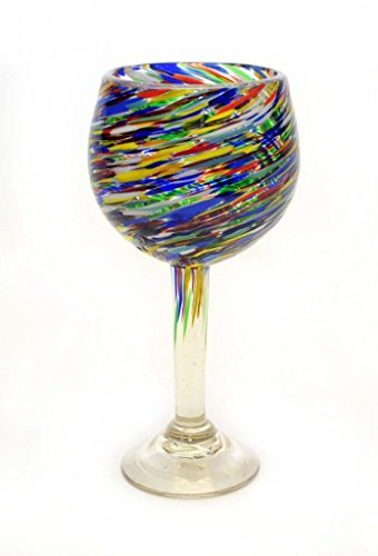 SET OF 4, MULTICOLOR TWISTED BEAUJOLAIS STYLE WINE GLASSES-14 OUNCES. RECYCLED GLASS. HANDMADE