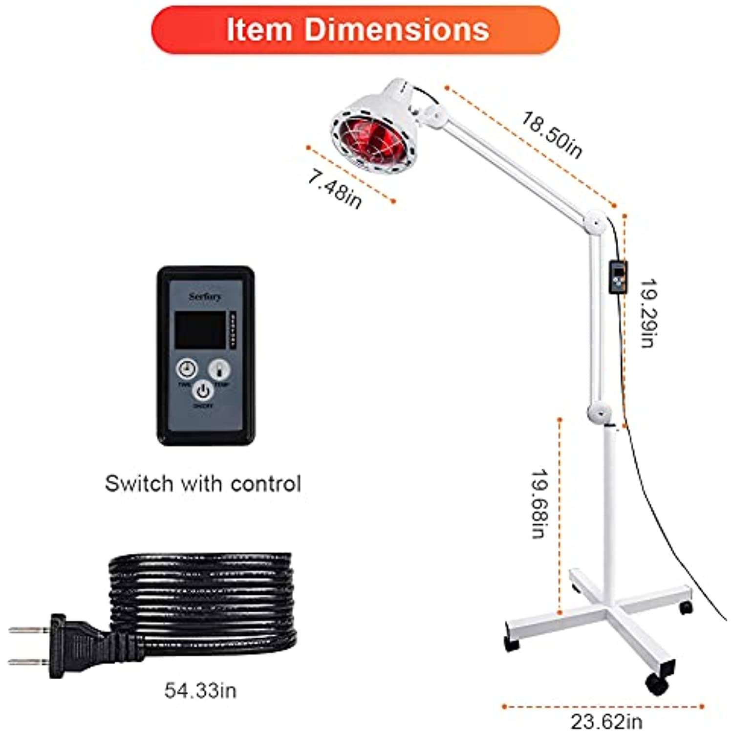 Infrared Light, Serfory 275W Near Infrared Heat Lamp for Pain Red Light Therapy for Body Standing Lamp Set - 110v/60hz