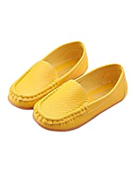 LANXI Girls Casual Loafers Pu Leather Flat Girls Dress Shoes Sneakers