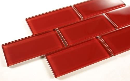 Ruby Red - 3x6 Red Glass Tile Mosaic - Bathroom Tile ...