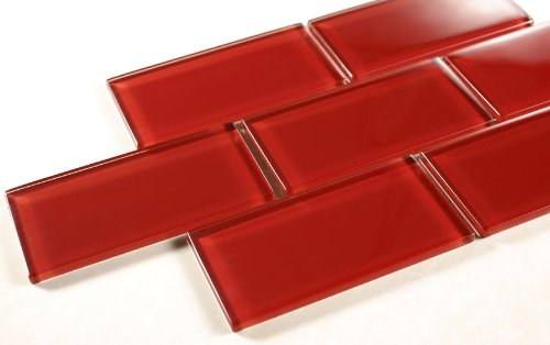 - Ruby Red - 3x6 Red Glass Tile Mosaic - Bathroom Tile & Kitchan Backsplash Tile (price per square feet, 8 pieces)