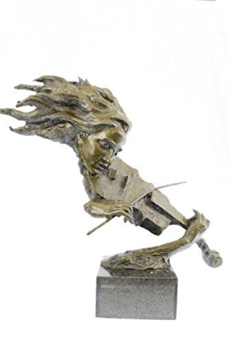 Handmade European Bronze Sculpture Abstract Modern Art Female Violin Fidler Player Marble Bronze Statue -1X-YRD-164-Decor Collectible Gift ()