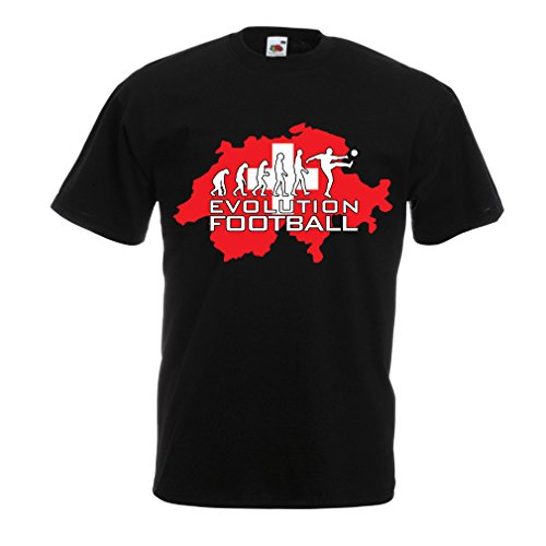 fan products of N4477 T Shirts For Men Evolution Football - Switzerland (XXXX-Large Black Multi Color)