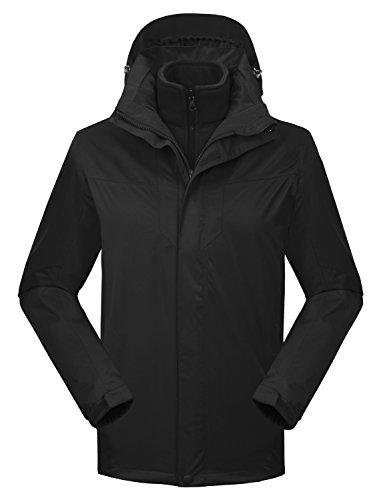 MOCOTONO Women's Waterproof Rain Jacket Fleece Snow Ski Winter Coat Black Small