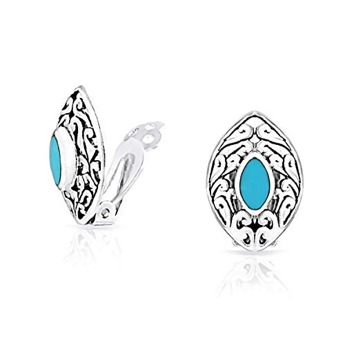Bali Style Filigree Marquise Shape Stabilized Blue Turquoise Clip On Earrings Non Pierced Ears 925 Sterling ()