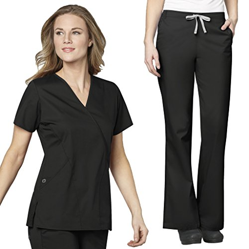 WonderWink Women's Work Scrubs Mock Wrap V-Neck Top & Flare Leg Drawstring Pant Set + FREE GIFT - Mock Wrap V-neck Scrub Top
