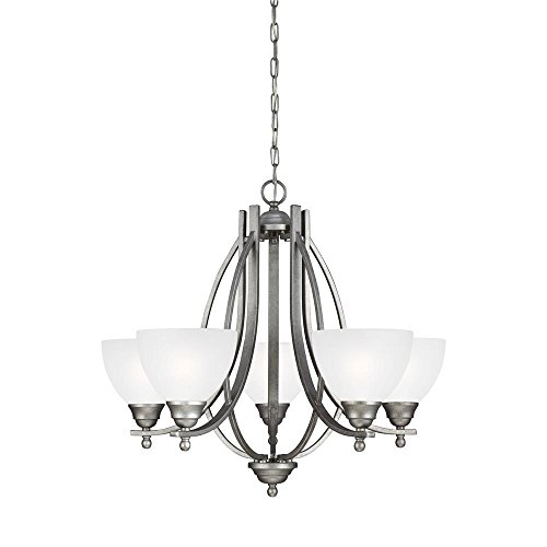 Sea Gull Lighting 3131405-57 Vitelli – Five Light Chandelier, Weathered Pewter Finish with Satin Etched Glass