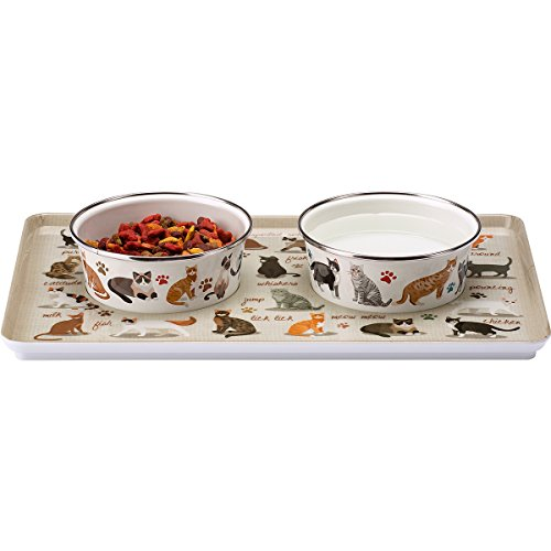 Sit-N-Stay Magnetic Non-Slip Cat Pet Tray & Food Bowl Set (Crazy About Cats)