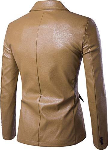 Fashion Slim Giacche Khaki Prom Leather Battercake Faux Comodo Elegante Fit Da Con Un Bottone Uomo Blazer Sposa Giacca IqqXw