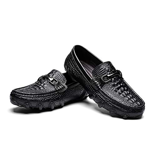 Männer weiche Schuhe aus echtem echtem echtem Leder Fahren Schuhe Casual Klassische krokodil Druck Penny Loafers Metall Rutschfeste runde zehe Slip auf,Grille Schuhe (Farbe   Schwarz, Größe   45 EU)  53b58c