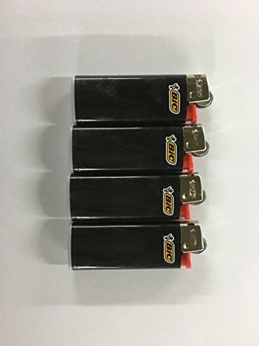 Mini Lighters Bic (BIC Lot of 4 Mini Ebony Jet Black Lighters)