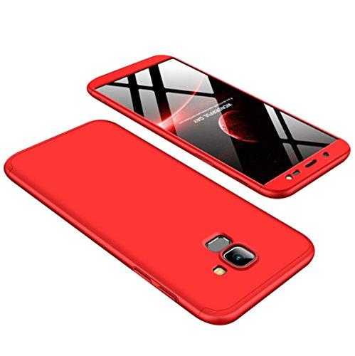 Pouces 2018 en Anti J6 Rigide Scratch Choc 2018 Etui Galaxy 6 Telephone Case Rouge Coque Intgrale PC Mince Galaxy Ultra 3 Anti Protection 360 5 1 Housse pour Samsung J6 qzEwwtxaf