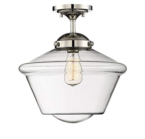 Trade Winds Lighting TW60051PN 1-Light Transitional Schoolhouse Semi-Flush Mount Ceiling Light with Clear Glass, 100 Watts, in Polished Nickel