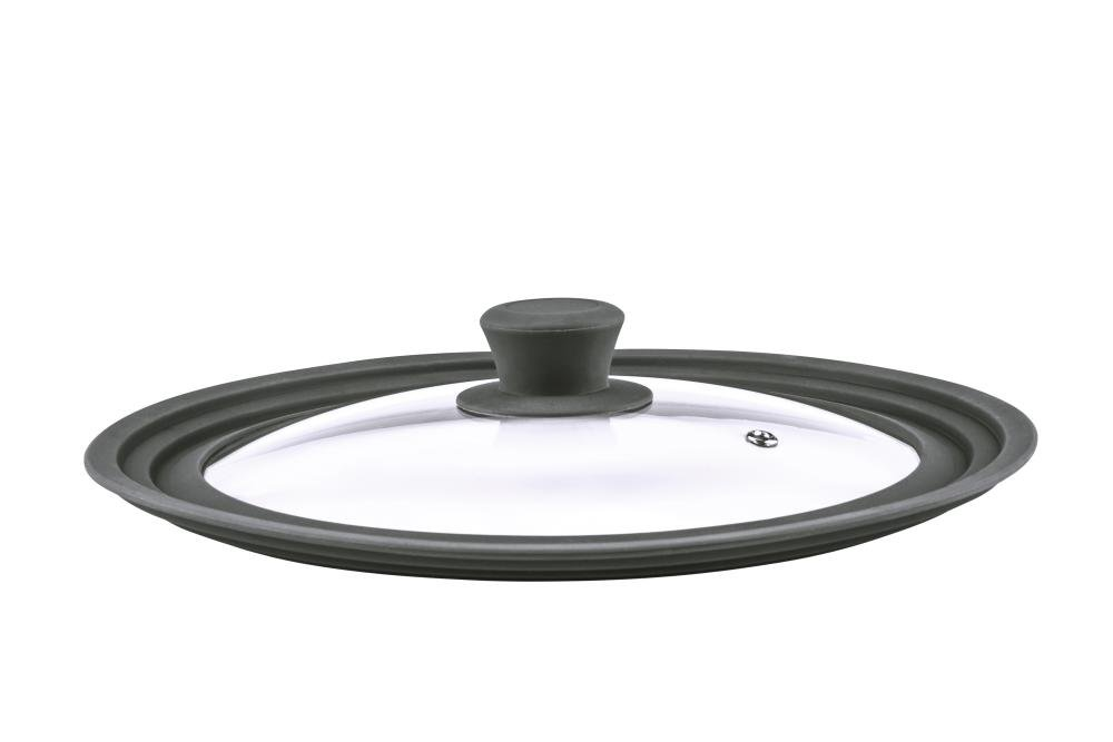culinario Universal Glass Lid for Pots & Pans with 24/26/28cm Diameters - With Outlet Valve & Silicone Rim - Anthracite Steuber GmbH