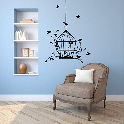 (Wall Decals Bird Cage - Birds - Branches and Leaves - Vinyl Wall Art Decal Sticker - Any Color Combination and a Choice of Sizes - Made in USA 17)