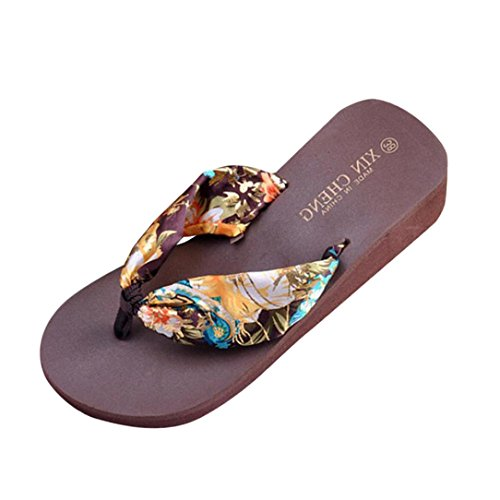 Juicy Heel Platform Sandal (iZHH Bohemia Floral Beach Sandals Wedge Platform Thongs Slippers Flip Flops (39-Width:3.74